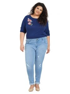 Zush Mid Rise Slim Fit Light Blue Color Cotton Blend Fabric Plus Sized Jeans For Womens(code-zu1050)