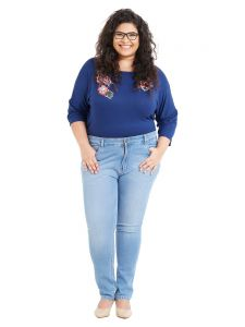 Zush Mid Rise Regular Fit Light Blue Color Cotton Blend Fabric Plus Sized Jeans For Womens(code-zu1052)