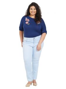Zush Mid Rise Regular Fit Light Blue Color Cotton Blend Fabric Plus Sized Jeans For Womens(code-zu1053)
