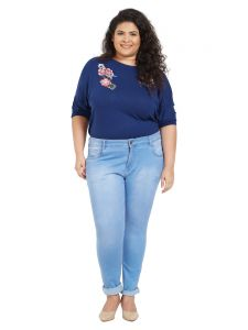 Zush Mid Rise Regular Fit Medium Blue Color Cotton Blend Fabric Plus Sized Jeans For Womens(code-zu1054)