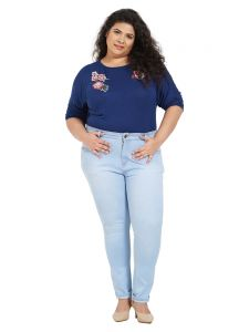 Zush Mid Rise Regular Fit Light Blue Color Cotton Blend Fabric Plus Sized Jeans For Womens(code-zu1055)
