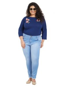 Zush Mid Rise Regular Fit Medium Blue Color Cotton Blend Fabric Plus Sized Jeans For Womens(code-zu1057)