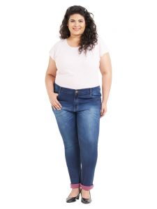 Zush Mid Rise Regular Fit Dark Blue Color Cotton Blend Fabric Plus Sized Jeans For Womens(code-zu1059)