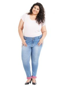Zush Mid Rise Regular Fit Light Blue Color Cotton Blend Fabric Plus Sized Jeans For Womens(code-zu1060)