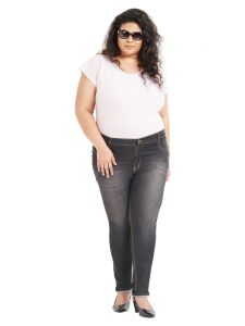 Zush Mid Rise Regular Fit Medium Black Color Cotton Blend Fabric Plus Sized Jeggings For Womens(code-zu1061)