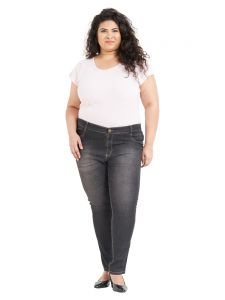 Zush Mid Rise Regular Fit Medium Black Color Cotton Blend Fabric Plus Sized Jeggings For Womens(code-zu1062)