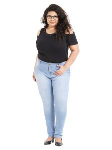 Jeggings - ZUSH Mid Rise Regular Fit Light Blue Color Cotton Blend Fabric Plus Sized Jeggings For Womens(Code-ZU1065)