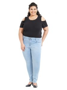 Zush Mid Rise Regular Fit Light Blue Color Cotton Blend Fabric Plus Sized Jeans For Womens(code-zu1067)