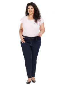 Zush Mid Rise Regular Fit Dark Blue Color Cotton Blend Fabric Plus Sized Jeans For Womens(code-zu1071)