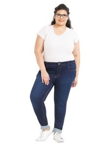 Zush Mid Rise Regular Fit Dark Blue Color Cotton Blend Fabric Plus Sized Jeans For Womens(code-zu1074)