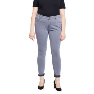 Zush Stretchable Regular Fit Grey Cotton Blend Plus Size Denim Jeans For Women(code-zu1083)