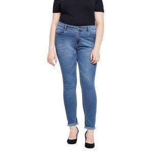 Zush Stretchable Regular Fit Medium Blue Cotton Blend Plus Size Denim Jeans For Women(Code-ZU1089)