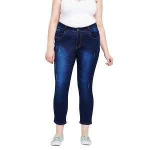 Zush Stretchable Regular Fit Dark Blue Cotton Blend Plus Size Ankle Length Jeans For Women(code-zu1095)