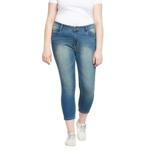Zush Stretchable Regular Fit Blue Cotton Blend Plus Size Ankle Length Jeans For Women(code-zu1097)