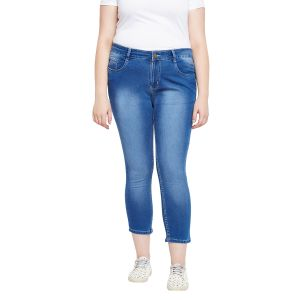 Zush Stretchable Regular Fit Medium Blue Cotton Blend Plus Size Ankle Length Jeans For Women(code-zu1098)