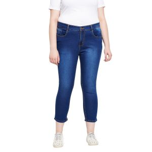 Zush Stretchable Regular Fit Medium Blue Cotton Blend Plus Size Ankle Length Jeans For Women(code-zu1099)