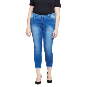 Jeans (Women's) - Zush Stretchable Regular Fit Medium Blue Cotton Blend Plus Size Ankle Length Jeans For Women(Code-ZU1102)