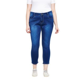 Zush Stretchable Regular Fit Dark Blue Cotton Blend Plus Size Ankle Length Jeans For Women(code-zu1103)