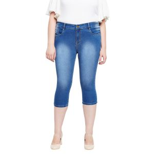 Capris, Dhotis (Women's) - Zush Stretchable Regular Fit Medium Blue Cotton Blend Plus Size Denim Capri For Women(Code-ZU1105)