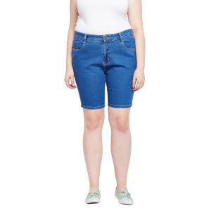 Zush Stretchable Regular Fit Light Blue Cotton Blend Plus Size Denim Shorts For Women(code-zu1108)