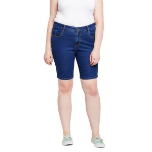Zush Stretchable Regular Fit Medium Blue Cotton Blend Plus Size Denim Shorts For Women(code-zu1109)