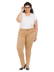 Zush Mid Rise Regular Fit Beige Color Cotton Blend Fabric Plus Sized Pant For Womens(code-zu2001)