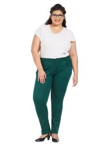 Skirts, Trousers - ZUSH Mid Rise Regular Fit Green Color Cotton Blend Fabric Plus Sized Pant For Womens(Code-ZU2002)