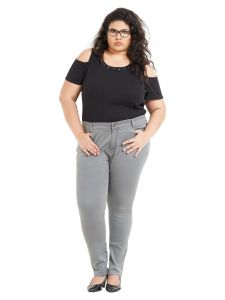 Skirts, Trousers - ZUSH Mid Rise Regular Fit Light Grey Color Cotton Blend Fabric Plus Sized Pant For Womens(Code-ZU2005)