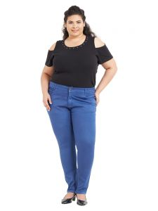 Zush Mid Rise Regular Fit Bright Blue Color Cotton Blend Fabric Plus Sized Pant For Womens(code-zu2007)