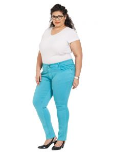 Zush Mid Rise Regular Fit Dark Turquoise Color Cotton Blend Fabric Plus Sized Pant For Womens(code-zu2008)
