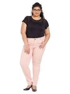 Zush Mid Rise Regular Fit Pink Color Cotton Blend Fabric Plus Sized Pant For Womens(code-zu2011)