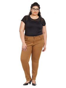 Zush Mid Rise Regular Fit Tobacco Color Cotton Blend Fabric Plus Sized Pant For Womens(code-zu2013)