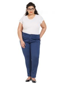 Zush Mid Rise Regular Fit Blue Color Cotton Blend Fabric Plus Sized Formal Pant For Womens(code-zu2015)
