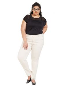 Zush Mid Rise Regular Fit Ivory Color Cotton Blend Fabric Plus Sized Formal Pant For Womens(code-zu2016)