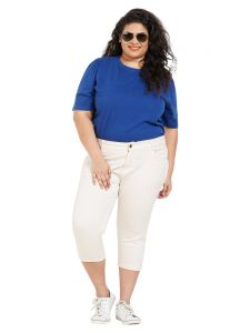 Zush Mid Rise Regular Fit Ivory Color Cotton Blend Fabric Plus Sized Capri For Womens(code-zu2019)
