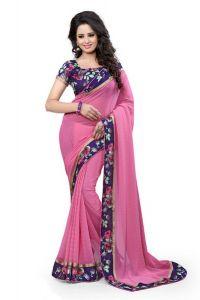 Sarees (Misc) - Pushty Fashion Pink Lace work Dani Saree Z-240