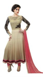 Anarkali Suits (Unstitched) - Pushty Fashion Cream And Pink Color Georgette Semi Stitched Anarkali Suits PF-MNS-161