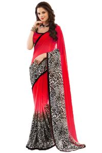 Sarees - Pushty Fashion Red and Black Lace work Georgette Saree N-1018