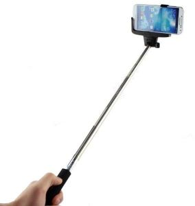 Selfie Stick (black) With Inbuilt Bluetooth - Android And Ios Phones