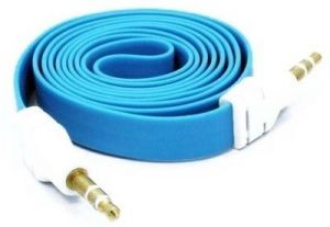 2m 3.5mm Wide Flat Strip Male To Male Audio Extension Aux Cable Blue