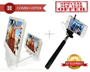 Buy Phone Magnifier Selfie Stick With Aux Wire - Cmpmsa