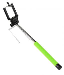Monopod Extendable Selfie Stick With 3.5mm Aux Cable & Button On Stick