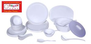 Dream Home Microsafe Dinner Set White Round