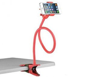 Flexible Long Lazy Metal Clamp Mobile Phone Holder For Smartphones Red