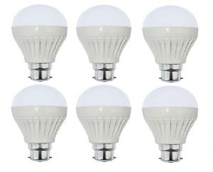 Autorise 9 Watt Plastic LED Bulb(white) Pair Of 6