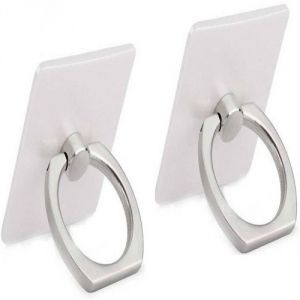 Vu4 Universal Metal Ring 360 Degree Rotating Silver Set Of 2 Mobile Holder