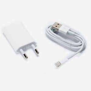 Apple Iphone5/5s Combo Kit Flat Wall Charger & USB Sync Data Lighting Cable