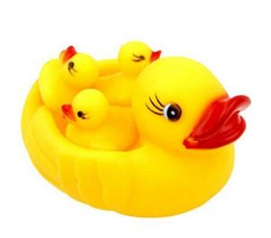 Domire Baby Bath Bathing Toys Rubber Race Squeaky Ducks Yellow
