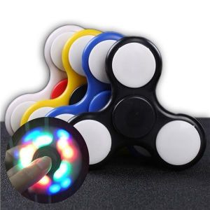 Genuine Laser LED Light Hand Spinner Fidget Toys Aluminium Ceramic Finger Ball
