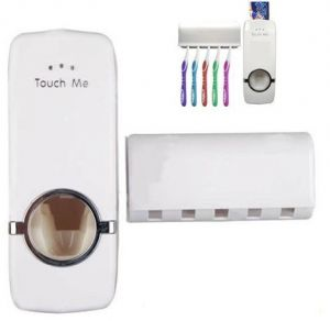 Toothbrush holders - Automatic Toothpaste Dispenser And Tooth Brush Holder Set